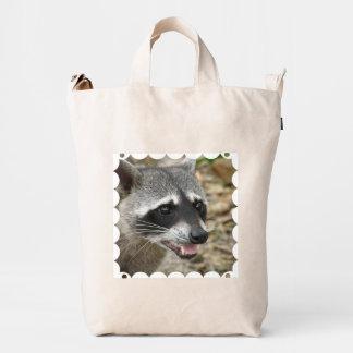Cara del mapache bolsa de lona duck