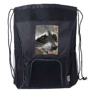 Cara del mapache mochila de cordón
