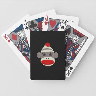 Cara del mono del calcetín cartas de juego