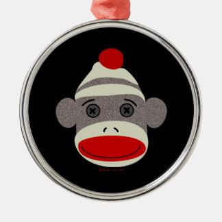 Cara del mono del calcetín ornamentos de navidad