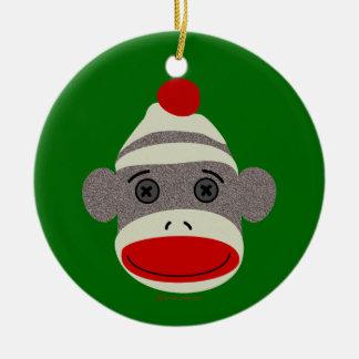 Cara del mono del calcetín adorno redondo de cerámica