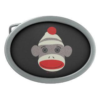 Cara del mono del calcetín hebilla de cinturon oval