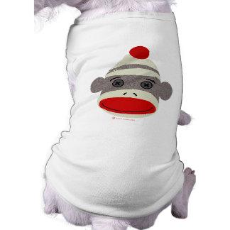 Cara del mono del calcetín playera sin mangas para perro