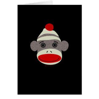 Cara del mono del calcetín tarjeta de felicitación