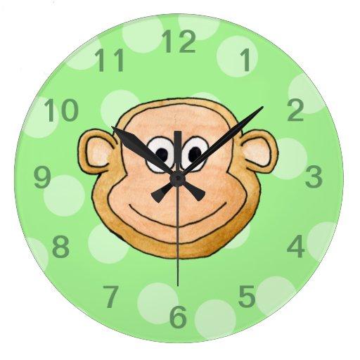 Cara del mono reloj redondo grande