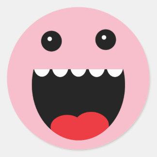 "Cara del monstruo de princesa Pink ""Chompy"" Pegatina Redonda"