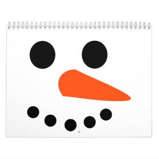 Cara del muñeco de nieve calendario