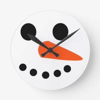 Cara del muñeco de nieve relojes de pared