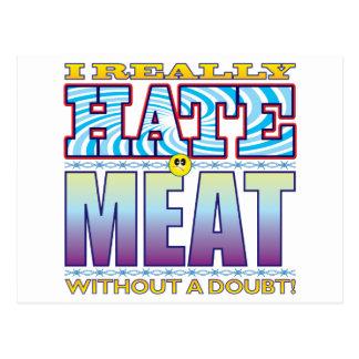 Cara del odio de la carne tarjeta postal