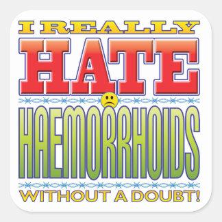 Cara del odio de la hemorroides pegatina cuadrada