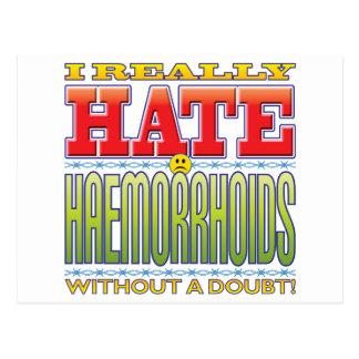 Cara del odio de la hemorroides tarjeta postal