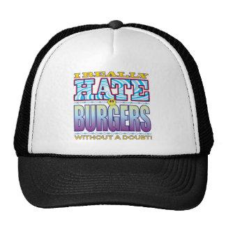 Cara del odio de las hamburguesas gorros bordados