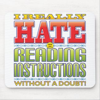 Cara del odio de las instrucciones de la lectura tapetes de ratones