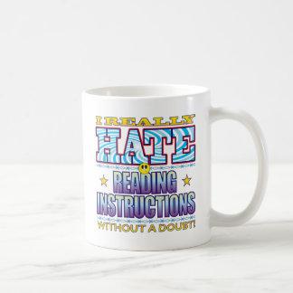 Cara del odio de las instrucciones de la lectura taza básica blanca