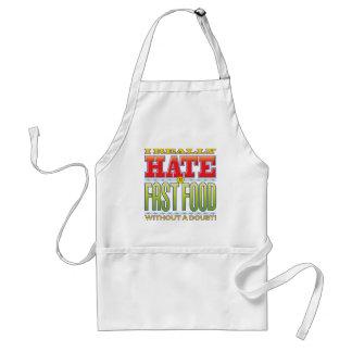 Cara del odio de los alimentos de preparación delantales