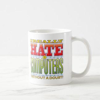 Cara del odio de los ordenadores taza básica blanca