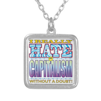 Cara del odio del capitalismo colgante cuadrado