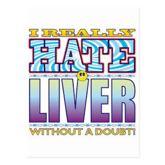 Cara del odio del hígado tarjeta postal