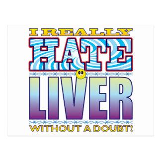 Cara del odio del hígado tarjetas postales