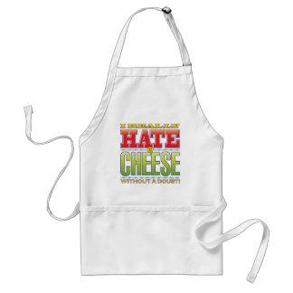 Cara del odio del queso delantales