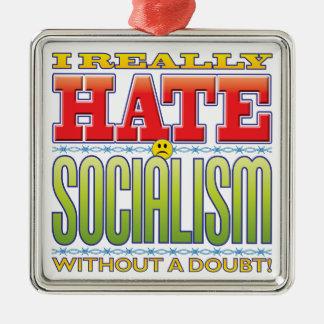 Cara del odio del socialismo adorno cuadrado plateado