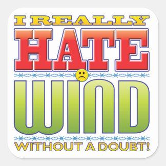 Cara del odio del viento colcomanias cuadradas
