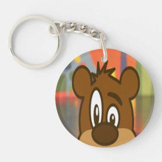 Cara del oso de Brown Llavero Redondo Acrílico A Una Cara