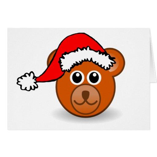 Cara del oso de peluche del navidad con el gorra d tarjeta de felicitación
