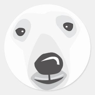 Cara del oso polar pegatina redonda
