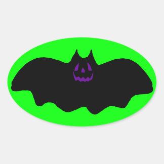 Cara del palo w/Purple de Halloween Pegatina Ovalada