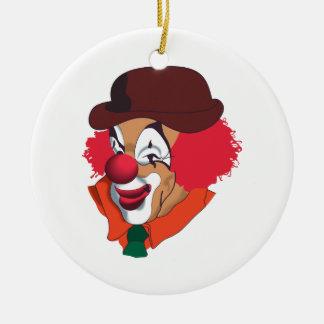 Cara del payaso adorno navideño redondo de cerámica