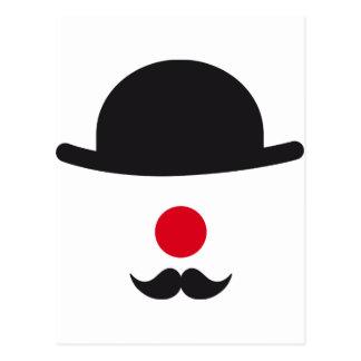 cara del payaso con el gorra, la nariz roja y el tarjeta postal