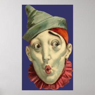 Cara del payaso del vintage póster