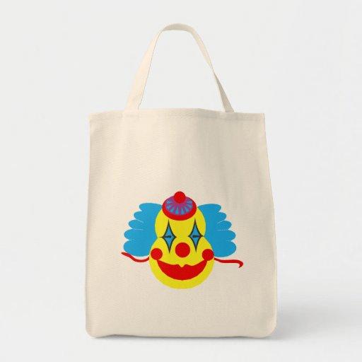 Cara del payaso torpe bolsa tela para la compra