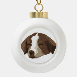 Cara del perrito adorno de cerámica en forma de bola