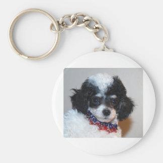 Cara del perrito del caniche de Parti del juguete Llavero Redondo Tipo Pin