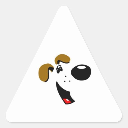 Cara del perrito pegatina triangular