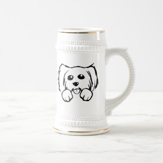 Cara del perro del dibujo animado jarra de cerveza