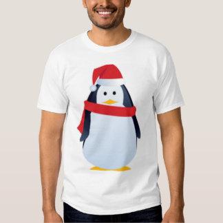 Cara del pingüino del navidad remeras