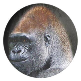 Cara del primer del gorila de la tierra baja del G Plato De Comida