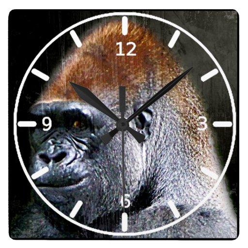 Cara del primer del gorila de la tierra baja del G Relojes De Pared