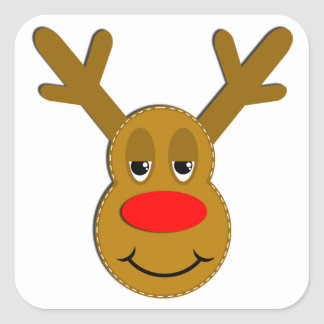 Cara del reno del navidad pegatina cuadrada