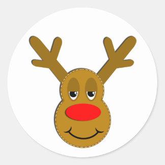 Cara del reno del navidad pegatina redonda