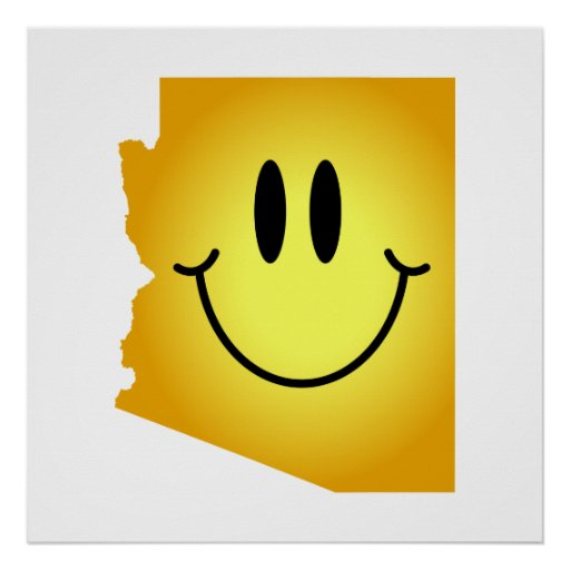 Cara del smiley de Arizona Póster