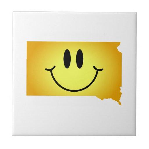 Cara del smiley de Dakota del Sur Teja Cerámica