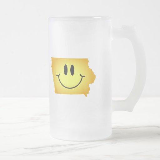 Cara del smiley de Iowa Taza De Café