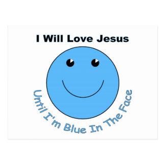 Cara del smiley de Jesús del amor Postal