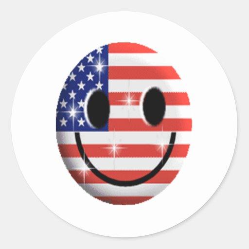 cara del smiley de la bandera etiqueta redonda