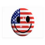cara del smiley de la bandera postales