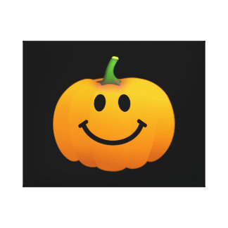 Cara del smiley de la calabaza de Halloween Lona Estirada Galerías